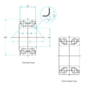 32 mm x 72 mm x 45 mm  NSK 32BWD05 angular contact ball bearings