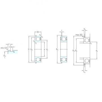 55 mm x 100 mm x 21 mm  SKF 6211-ZNR deep groove ball bearings