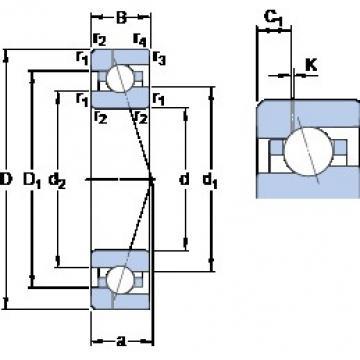 45 mm x 75 mm x 16 mm  SKF 7009 ACE/HCP4AH1 angular contact ball bearings
